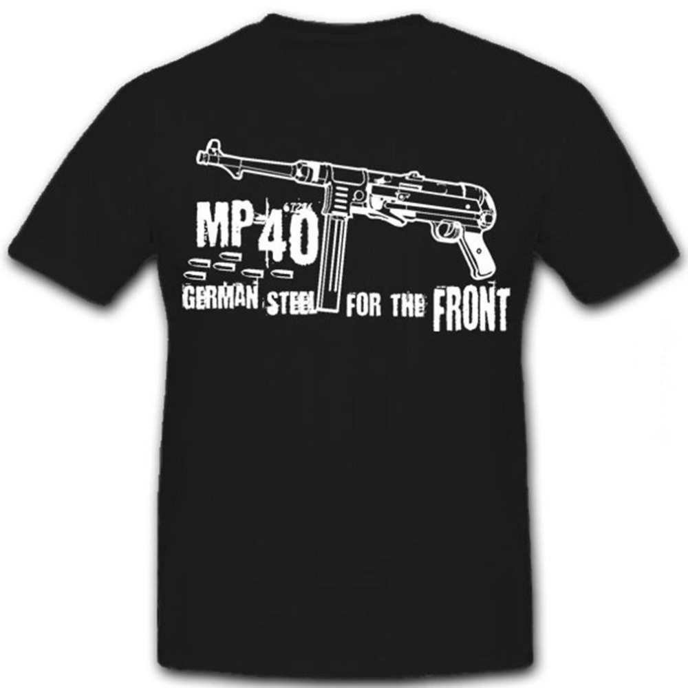 <font><b>Mp40</b></font> German Steel Mp 40 Submachine <font><b>Gun</b></font> Vintage Men And Woman T Shirt Summer Clothing Round Collar Any Logo Size Printed T Shirt image