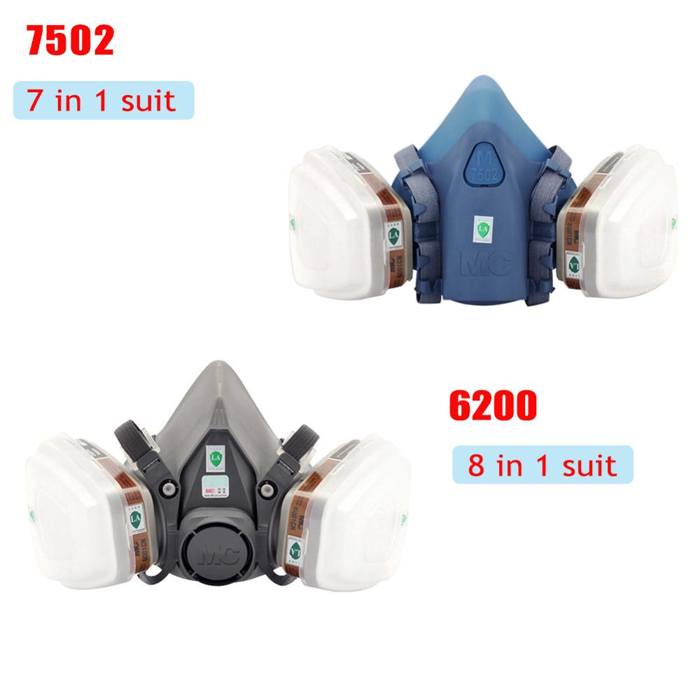 7502 Respirator Mask 7 In 1 Suit Industry Painting Spray Dust Gas Mask Chemcial Half Face Mask