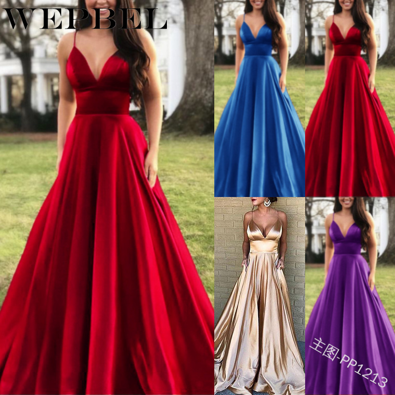 WEPBEL Women Fashion Sexy V-Neck Solid Color Dresses Sling Points Sleeveless Autumn Floor-Length Empire Party Dress