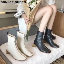 Brand Zipper Boots Women Front Zipper Open Botas Mid-Calf Botines Thick Heel Chelsea Boots Autumn Winter Footwear  zapatos mujer все цены