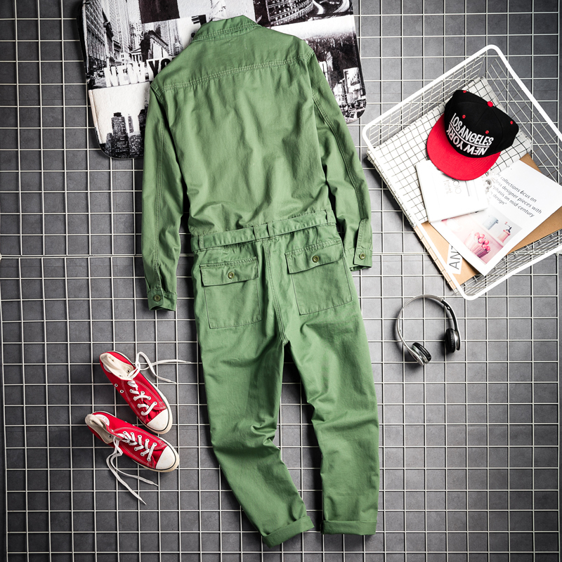 Harajuka Boy Friend Style Single Breasted Mens Jumpsuit Sashes Pockets Vintage Loose Fashion Male Casual Rompers Cargo Overalls