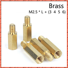 100pcs/lot M2.5*L+3/4/5/6 Brass column screw single head hex chassis copper motherboard space standoffs pillar