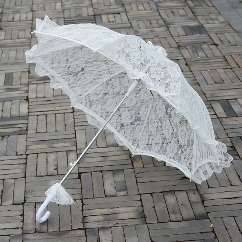 Womens Western Style Wedding Floral Lace Umbrella Bridal Manual Opening Fleur Parasol Ruffles Trim Romantic