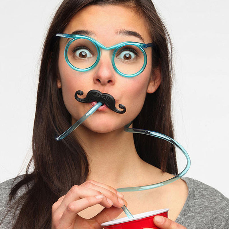 Hot! Funny Soft Glasses Drinking Straw Unique Flexible Drinking Tube Kids Party Colorful Plastic Kid's Party Toys For Children