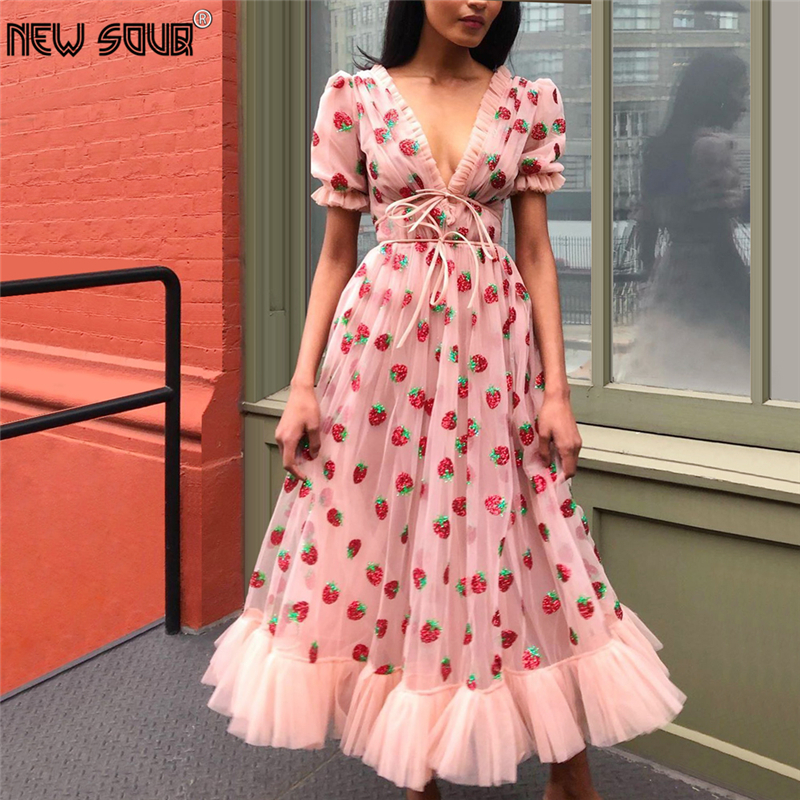 Pink Illusion Evening Dress 2020 Custom Made Chic V Neck Prom Dresses Half Sleeve Arabic Middle East Women Party Gowns ForDubai