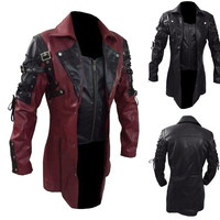 Men's leather jacket chaqueta hombre куртка Men Vintage Leather Jacket Biker Motorcycle Zipper Long Sleeve Coat Top Blouses
