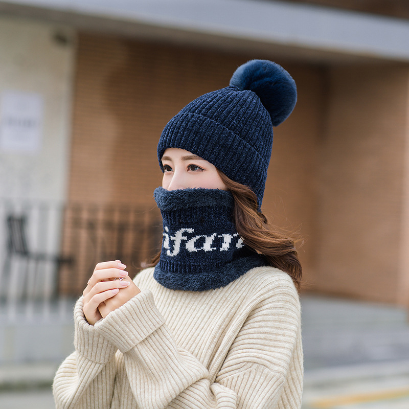 Winter Hat And Ring Scarf Set Women Thicken Winter Warm Hat Set  Two-Pieces Female Hats Scarves Unisex Beanie Hat Bonnet