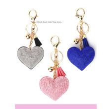 Love Heart Rhinestone Keychain Women Romantic Beads Crystal Leather Tassel Gold Key Holder Chain Ring Bag Car Pendant Jewelry new fashion women heart rhinestone keychain pendant car key chain ring holder jewelry exquisite gifts m23
