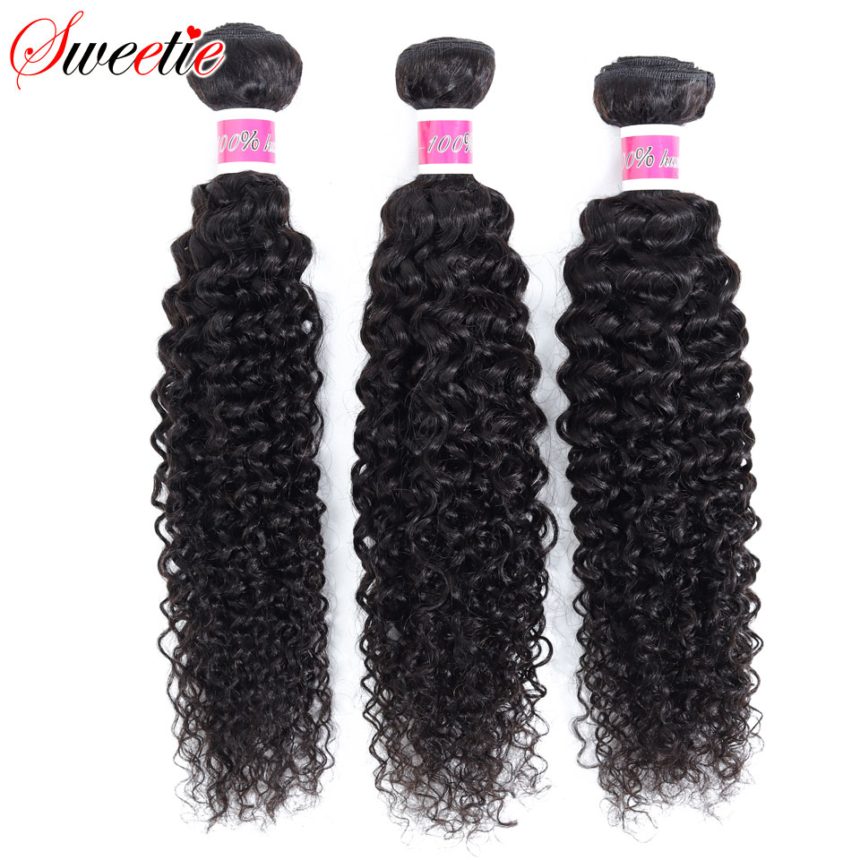 Image 3 - Sweetie Indian Hair Afro Kinky Curly Hair Extensions 100% Human Hair Weave Bundles Natural Color 3/4 Pieces 100G Non Remy-in Hair Weaves from Hair Extensions & Wigs