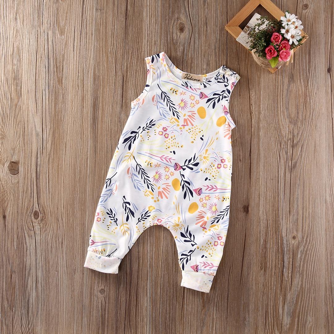 Sleeveless Flower Print Rompers For Baby Girls