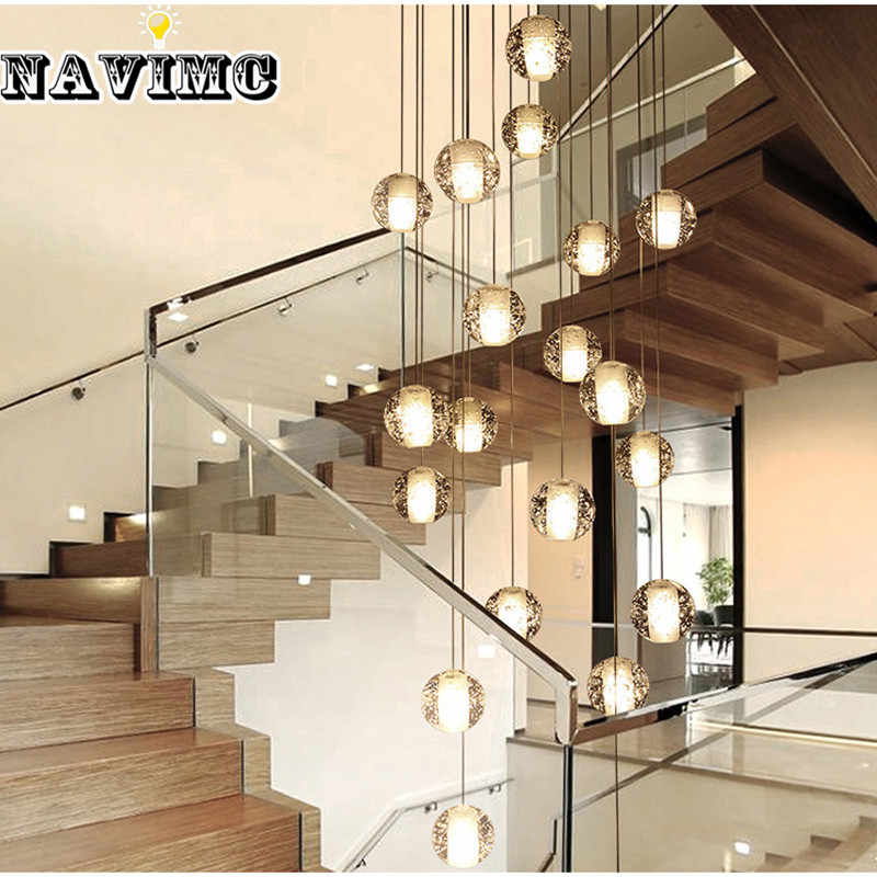 Modern Glass  LED Chandelier Stair Lights Loft Coffee Bedroom Lighting Lustres for Hotel Deco