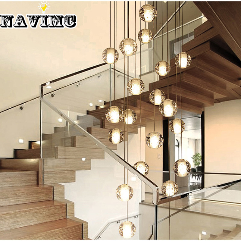 Luzes Da Escada De Vidro moderno LEVOU Lustre Loft Café Quarto Lustres de Iluminação para Hotel Deco