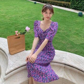 Women Vintage Long Floral Chiffon Dress Summer 2020 Runway Elegant Party Bodycon Maxi Boho Korean Vacation Dresses
