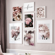 Gran rosa peonía Flor de melocotón Magnolia cuadro sobre lienzo para pared carteles nórdicos e impresiones cuadros de pared para salón