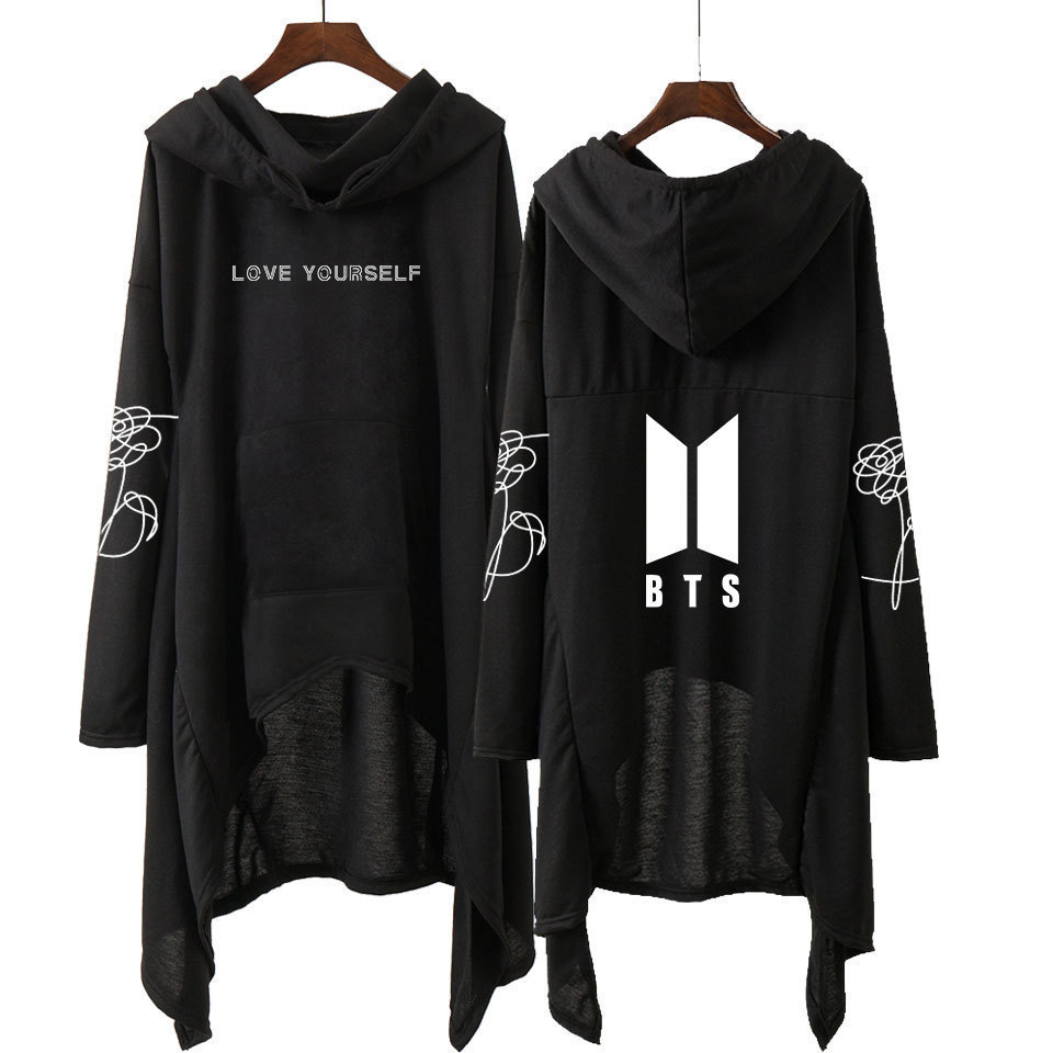 Cross Border For BTS Bulletproof Boys Hooded Dress European And American Minimalist Heap Collar Irregular Long Skirts Currently