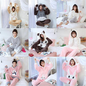 2019 New Autumn Winter Women Flannel Pajamas Set Bear Hooded Pajamas Sleepwear Coral Fleece Thickened Warm Pyjamas Home Clothing