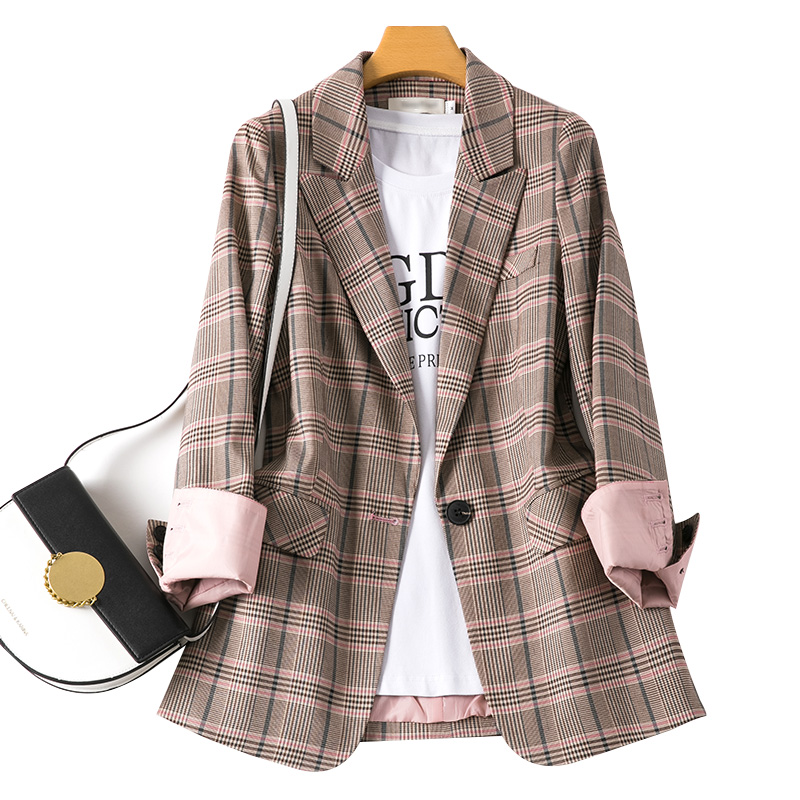 Plaid Korean Ladies Blazer Loose Casual Khaki Stylish Suit Jacket Vintage High Street Spring Women Blazer Large Size MM60NXZ