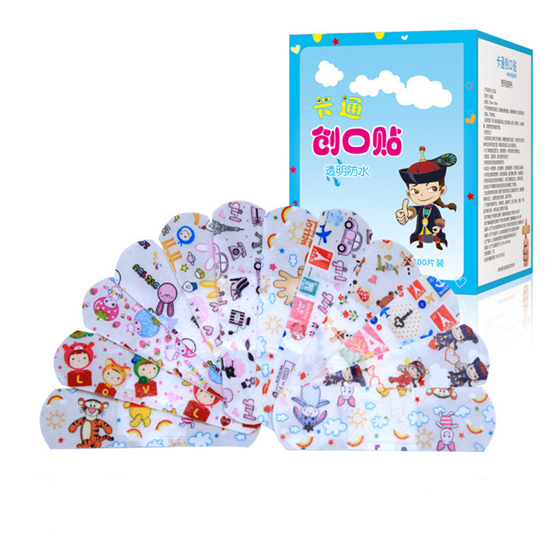 100PCS Cartoon Bandages  Band Aids Waterproof Breathable Cute Wound Dressing First Aid Stickers For Children Kids