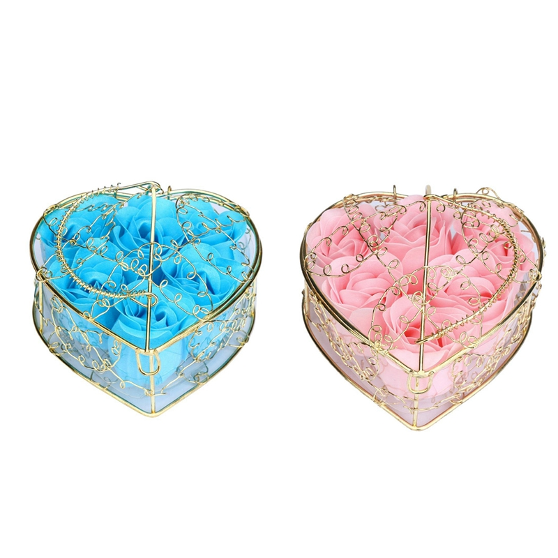 12Pcs Scented Rose Flower Petal Bath Body Soap Wedding Party Gift Home DIY Decoration (Blue&Pink)