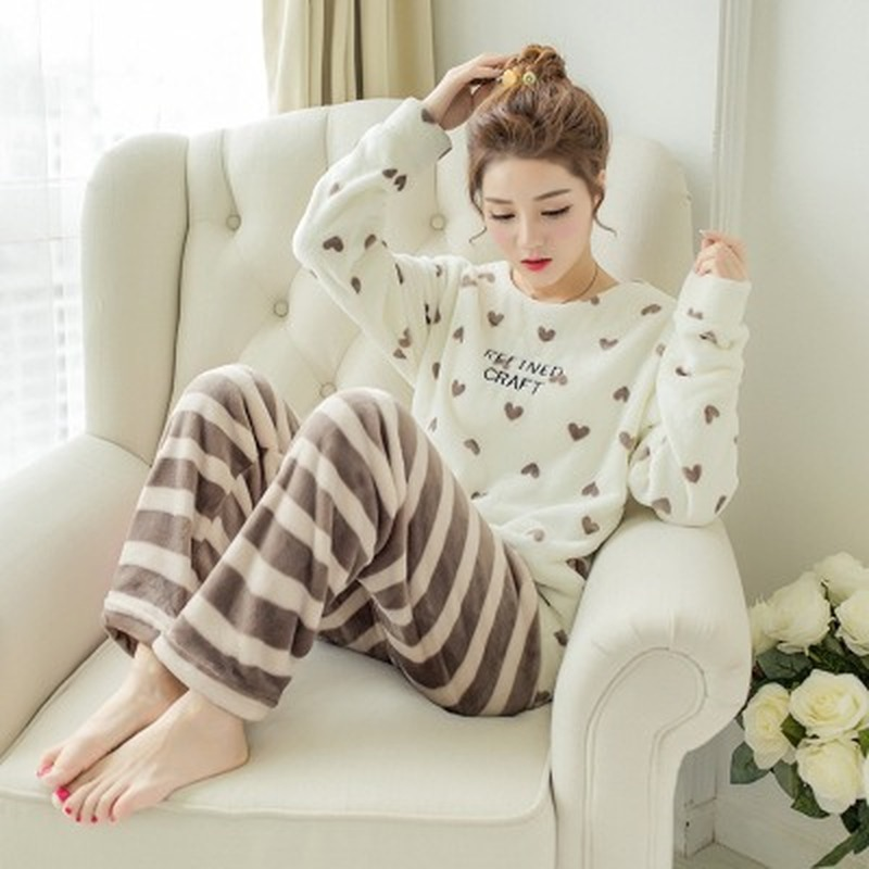 Winter Pajamas Women Korean Sleepwear Cute Cartoon Flannel Pajamas Set Velvet Warm Pijama Round Neck Pyjama Homewear Women