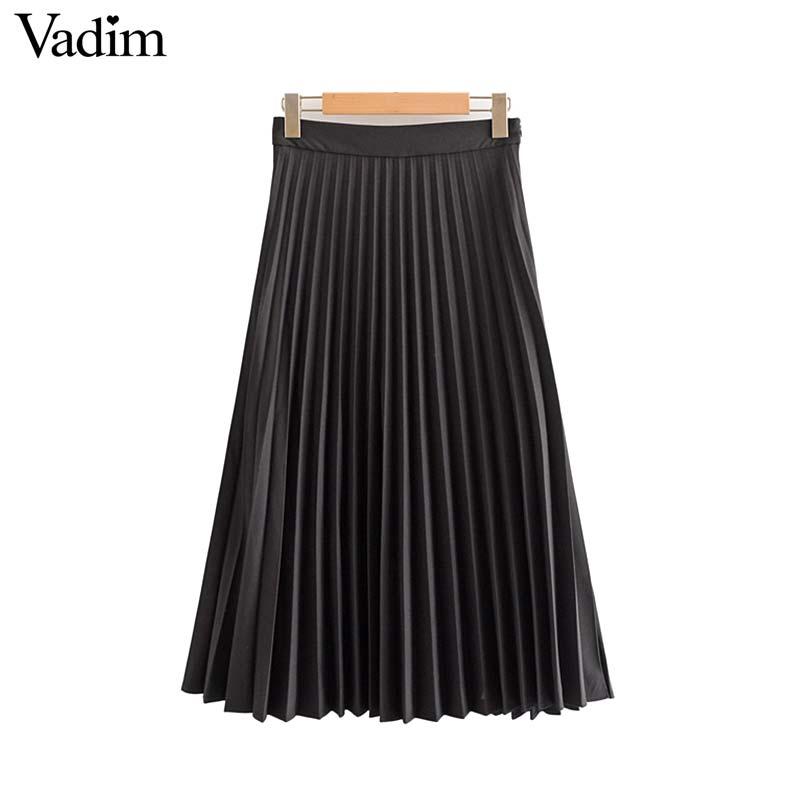 Image 3 - Vadim womem basic solid pleated skirt side zipper green black midi skirts female casual cozy fashion mid cald skirts BA865Skirts   -
