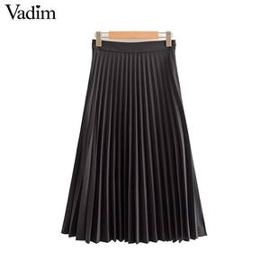 Image 3 - Vadim womem basic solid pleated skirt side zipper green black midi skirts female casual cozy fashion mid cald skirts BA865