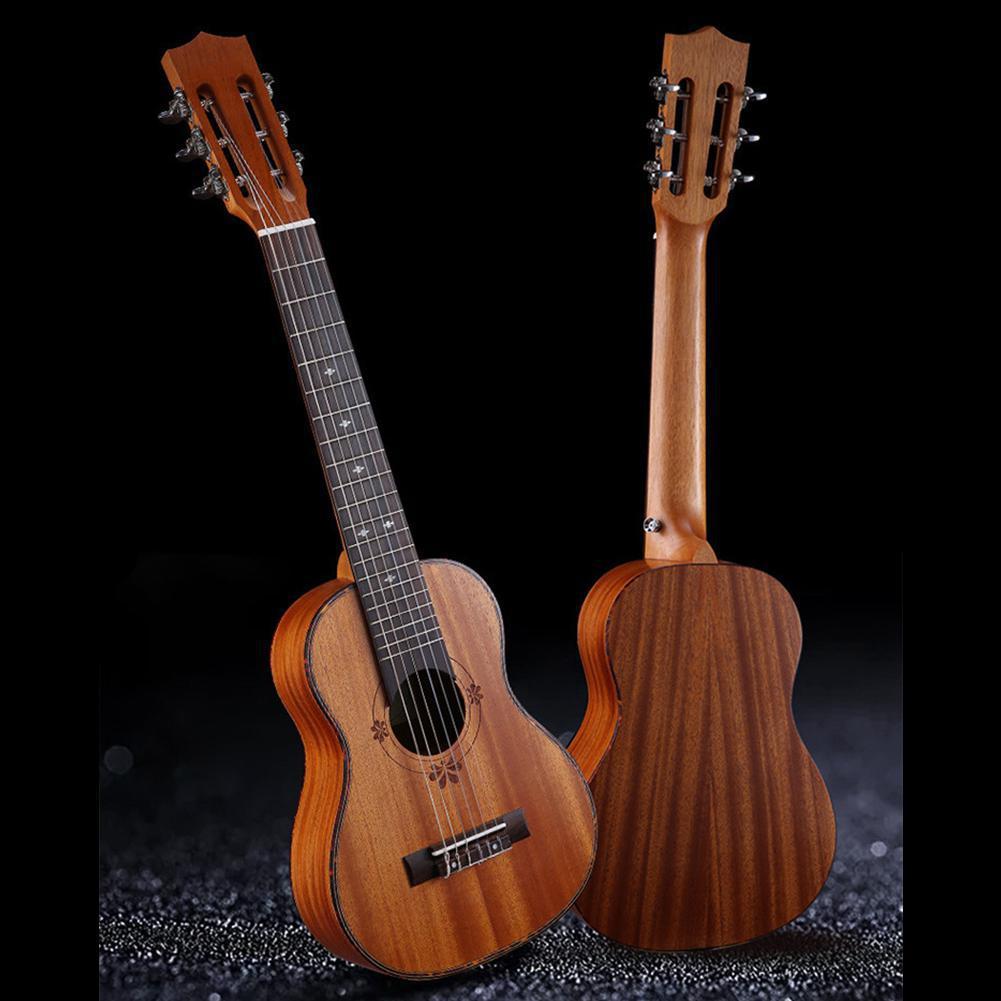 30 Inch 20 Fret Guitar Guitarlele Ukulele Portable Light-weight 6 Strings Guitarlele Hawaiian Musical Instrument for Music Lover