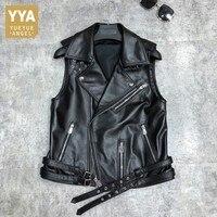Luxury Sheepskin Biker Vest Women Street Zipper Punk Sleeveless Jacket OL Style 100% Real Leather Loose Short Waistcoat S 3XL