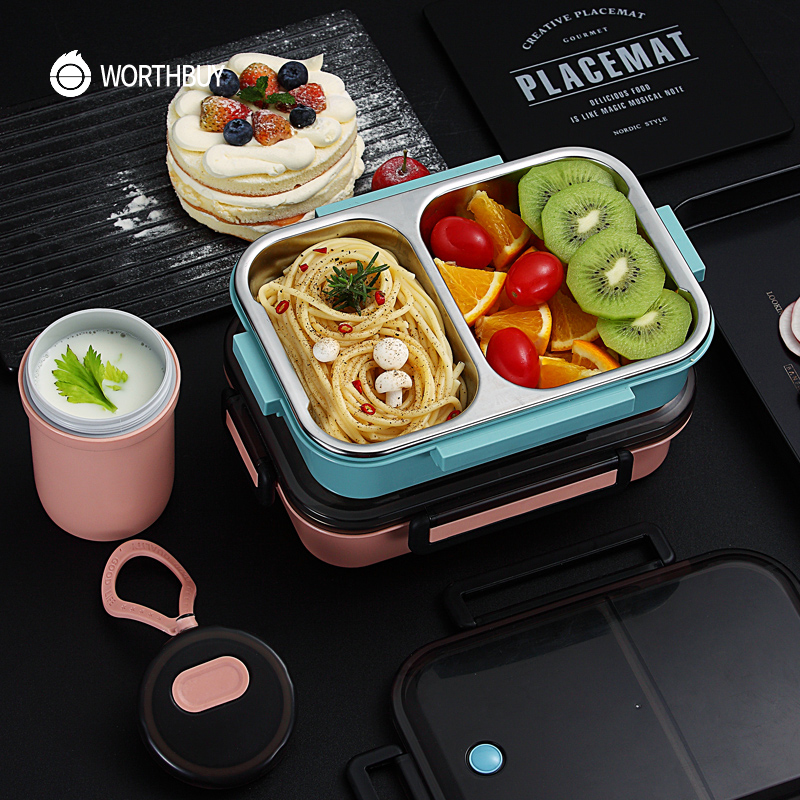 WORTHBUY Japanese Kids Lunch Box Leak-proof Bento Box 304 Stainless Steel Food Container For Children School Microwave Food Box