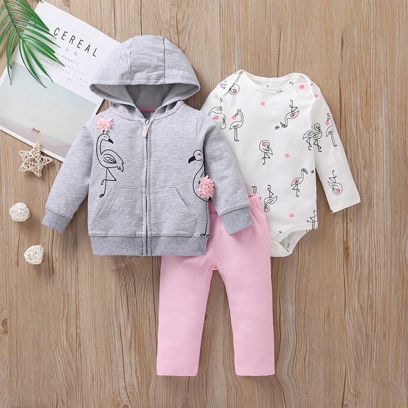 3 Pieces Sets Infant <font><b>Baby</b></font> boy girl clothes Hoodie Zipper Long sleeves Coat+Bodysuit+Pants Knit Jacket Winter Bebe Kids <font><b>Clothing</b></font> image