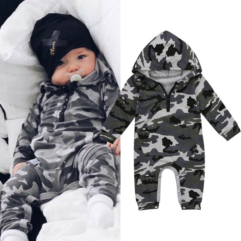 Newborn Baby Girl Boy Hooded Romper Jumpsuit Playsuit Clothes Outfit Camouflage Children Cute Autumn Winter Clothes