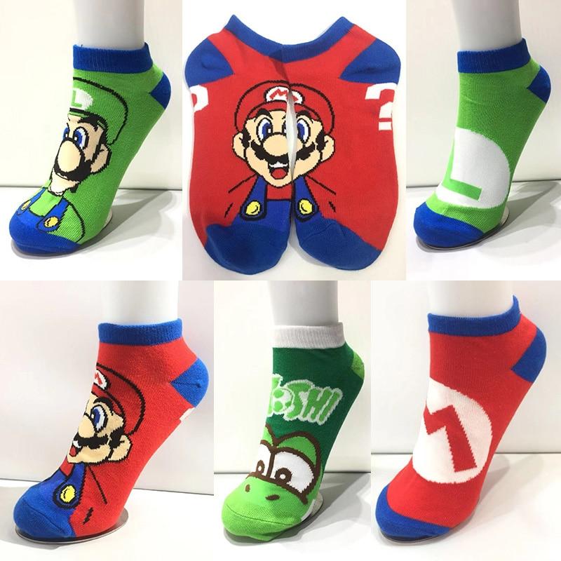 Anime Cartoon Short Socks Super Mary Mario Bros Cosplay Gift Colorful Stockings  Casual Dress Socks