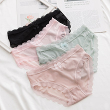 Women Sexy Lace Bow-knot Underpants Summer Cozy Thin Breatha