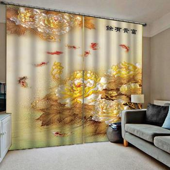 Golden curtains flower fish curtain Luxury Blackout 3D Window Curtains For Living Room  Blackout curtain