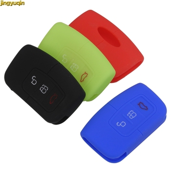jingyuqin 3 Button Remote Smart Silicone Car Key Case Cover Fob for Ford Focus 2016 2017 Kuga 2010 Keyless FOB Cover Styling kigoauto kr55wk48801 smart key case 3 button for ford kuga fiesta focus 2008 2010 2012