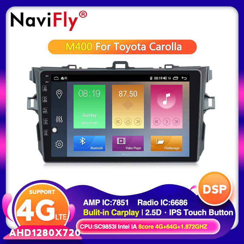 Android 10.0  Octa Core car gps navigation radio for Toyota corolla 2007 2008 2009 2010 2011 Car RDS wifi cassette