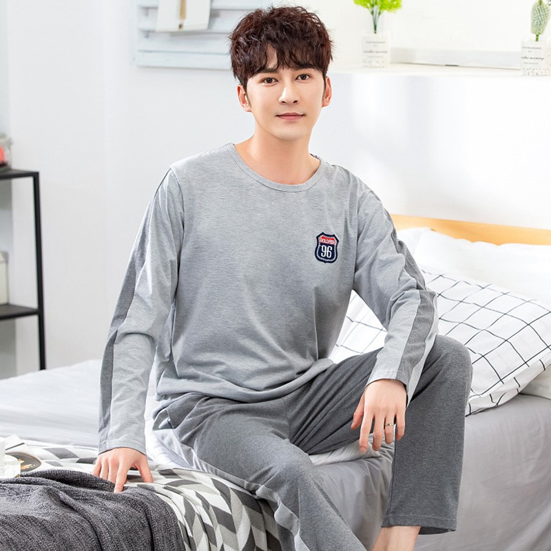 2019 Autumn High Quality Cotton Long Sleeve Pajama Sets For Men Sleepwear Male Underwear Loungewear Pyjama Homewear Home Clothes