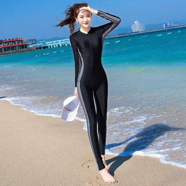 2019 สไตล์ใหม่ Womens Body Scuba Surfing ดำน้ำชุดว่ายน้ำ One piece ดำน้ำดูปะการังกลับซิปชุดเปียก 81109