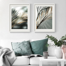 Golden Leaves Poster Nordic Canvas Painting Prints On The Wall Palm leaf Wall Art Pictures For Living Room Modern Home Decor kitchen poster herb chopper pictures hd prints home wall art nordic style modular painting on canvas fresh for living room decor
