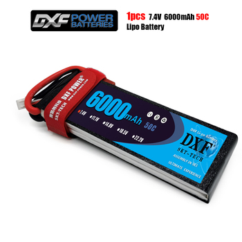 DXF 2S 7.4V 6000MAH 50C MAX100C T/XT60 LiPo RC Lipo Battery For Rc Helicopter Car Boat drone truck quadcopter Traxx image