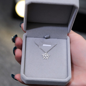 Snowflake Pendants Necklaces for Women 925 sterling silver Jewelry Shiny Cubic Zirconia Choker Necklace Valentines Day