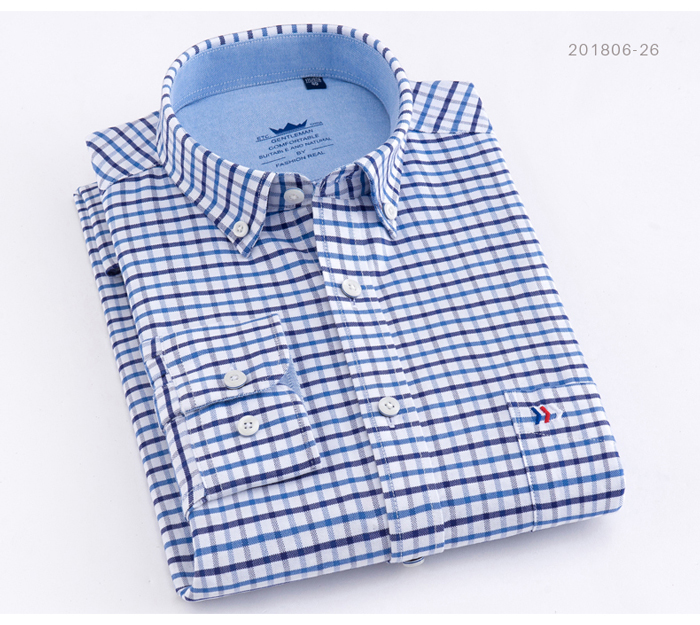 He203dacd7763422ebe868bacbcff3a1e2 - Men's Casual 100% Cotton Oxford Striped Shirt Single Patch Pocket Long Sleeve Standard-fit Comfortable Thick Button-down Shirts
