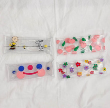 Buy SIXONE INS Puppy Transparent PVC Pencil Bag Lovely Cloud Smiling Face Flower Cosmetic Bag Stationery Receiving Box Pencil case directly from merchant!