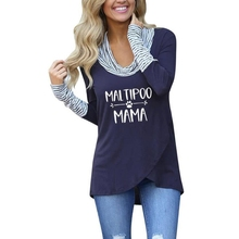 Fashion Striped Turtleneck T-Shirt MALTIPOO MAMA Letters Print For Women Tshirt Plus Size Harajuku Graphic Tees