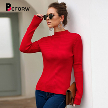 BEFORW 2019 Women Winter Tops Half Turtleneck Sweater Pullover Jumper Casual Autumn Clothing Long Sleeve Knitted Sweaters Tops цена