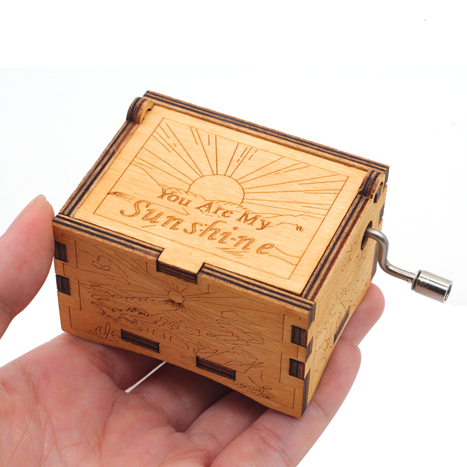 Enthusiastic You Are My Sun Wooden Music Box Hand Cranked Christmas Gift Theme Music Box Birthday Gift