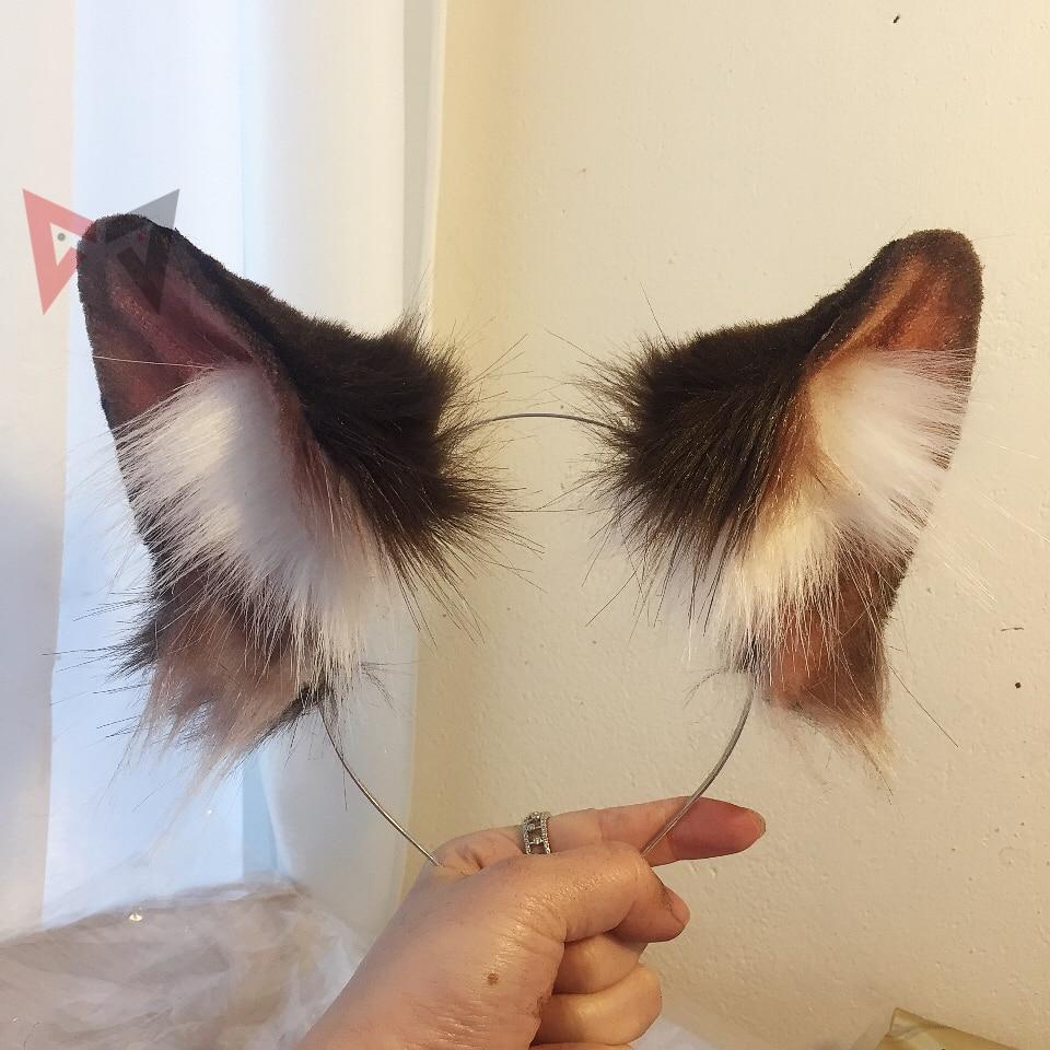 MMGG New Dark Brown Wolf Wolves Ears Hairhoop  Headwear Lolita cosplay costume accessories Hand made work