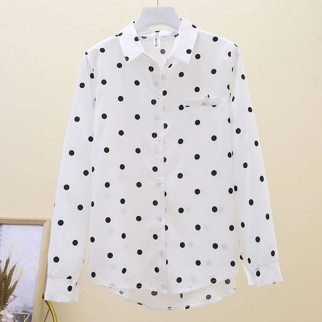 2021 New Summer Vintage Polka Dot Women Blouse Plus Size 4XL Loose Casual White Shirts Elegant Long Sleeve Female Chiffon Tops 5