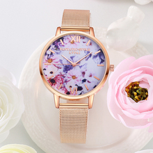 цена на Ladies Rose Gold WristWatches New Luxury Brand Fashion Women's Flower Dial Quartz Clock Metal Mesh Watch For Female montre femme