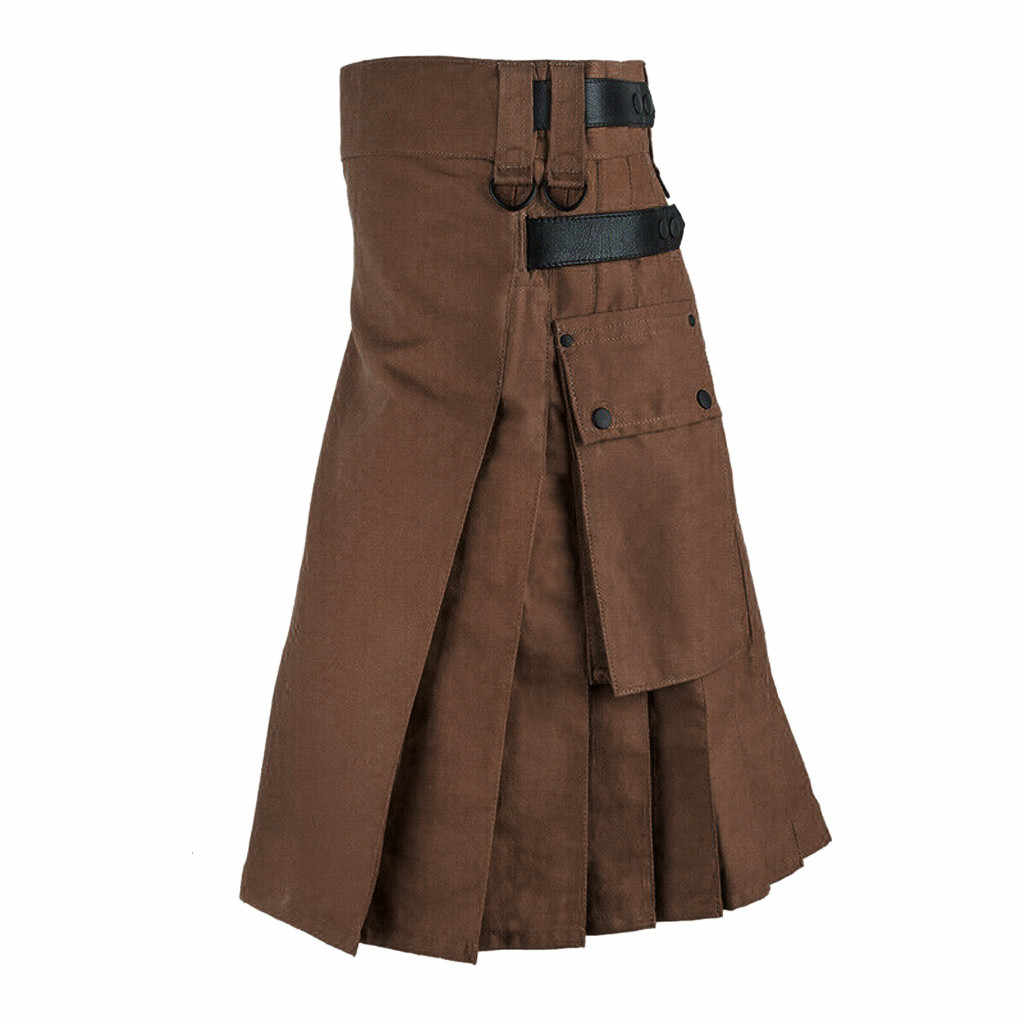 JOONDSHE Unisex gotik tarzı etek moda Vintage gotik ortaçağ kat tatil Cosplay avcılık etek siyah pilili etek